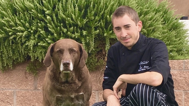 Chef John Haas, M'Tucci's, and his retriever, Manny