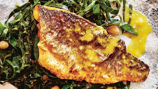 Citrus-spiced sea bass with citrus butter sauce
