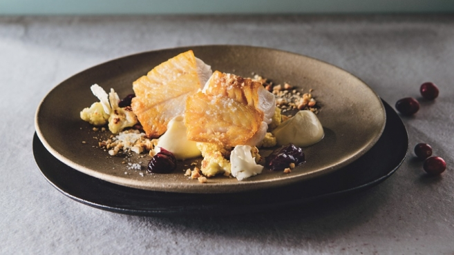 sablefish with cranberry chutney and cauliflower