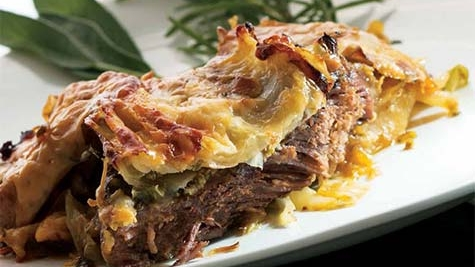 Lidia's Layered Casserole with Beef, Cabbage and Potatoes