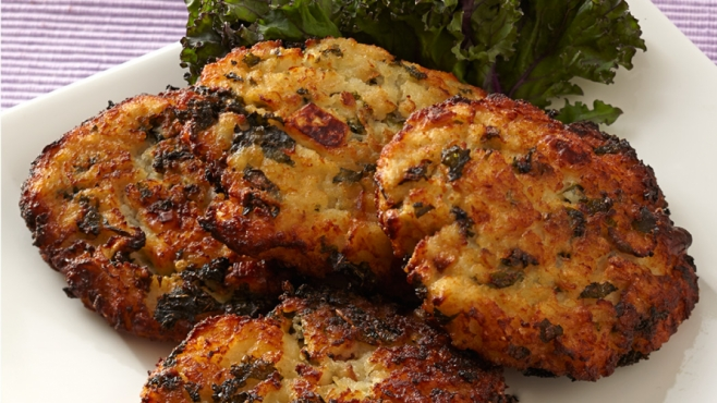 Mashed Potato, Kale and Feta Cheese Latkes