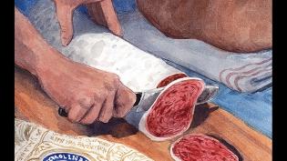 slicing molinari salami